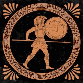 El antiguo guerrero griego con una lanza y un escudo en sus manos está listo para atacar.