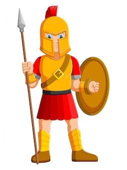 Antiguo guerrero o gladiador posando y sosteniendo la lanza