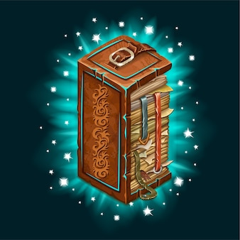 Antiguo libro de hechizos mágicos con luz de fondo.