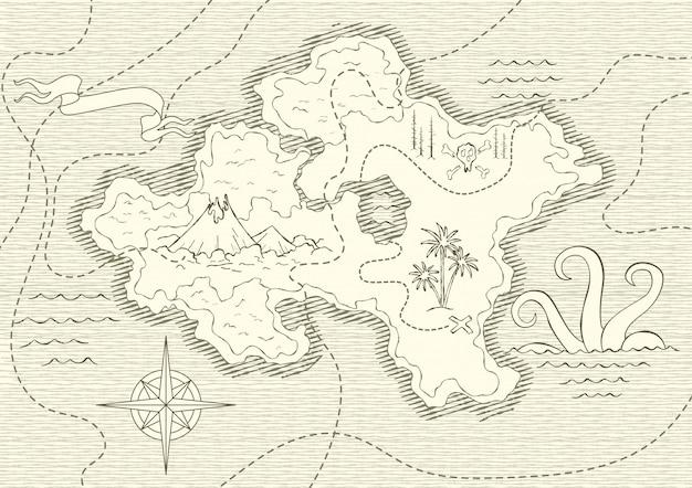 Antiguo mapa dibujado a mano con vintage