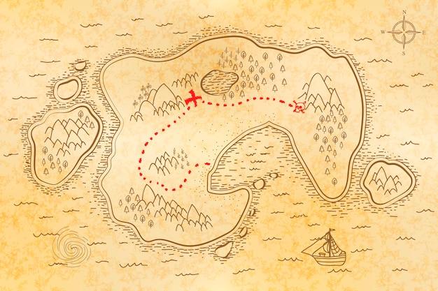Antiguo mapa pirata en papel viejo con camino rojo al tesoro