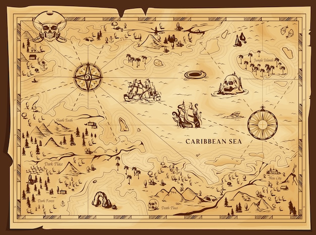 Antiguo mapa pirata, pergamino gastado