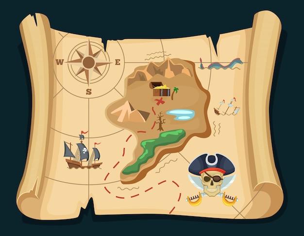 Antiguo mapa del tesoro para las aventuras piratas. isla con cofre viejo. ilustracion vectorial mapa del pirata del tesoro, aventura de viaje.