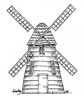 Antiguo molino de viento aislado