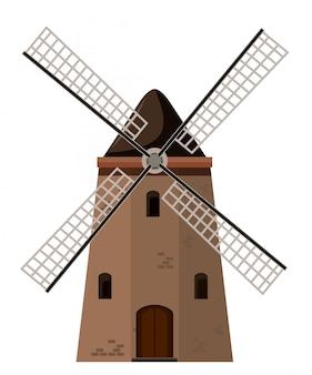 Antiguo molino de viento de ladrillo marrón