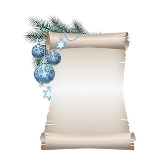 Antiguo papel de pergamino en blanco con bolas de navidad azul en rama de abeto verde