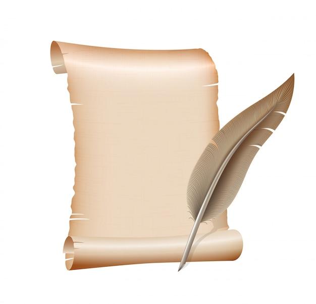 Antiguo papel de pergamino en blanco y pluma pluma sobre fondo blanco. ilustración