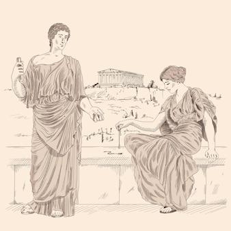 Un antiguo poeta griego recita poesía a una mujer sentada en un parapeto de piedra frente al paisaje de la ciudad de atenas.