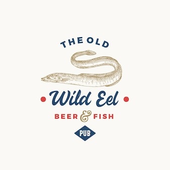 El antiguo pub de cerveza de anguila salvaje símbolo o logotipo de signo abstracto
