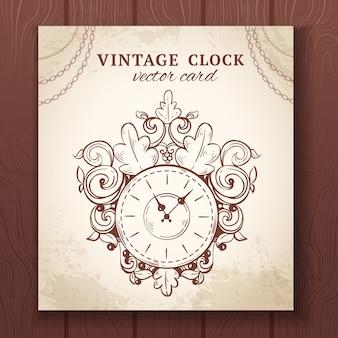 Antiguo reloj de pared de dibujo retro vintage con ilustración de vector de tarjeta de papel de decoración
