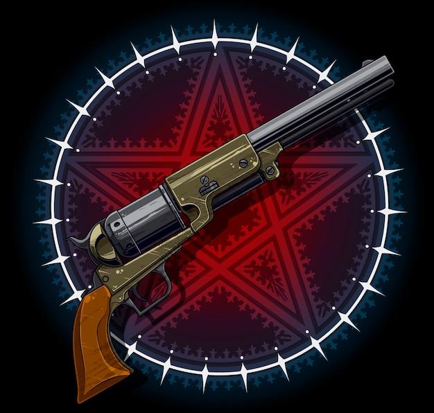 Antiguo revólver con estrella de pentagrama roja.