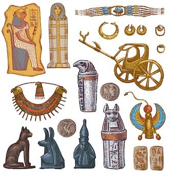 Antiguo sarcófago egipcio faraón joyas esfinge gato estatua de la cultura de egipto arquitectura histórica en conjunto de ilustración de la colección de arqueología aislado sobre fondo blanco.