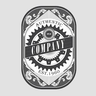 Antiguo steampunk etiqueta vintage marco retro frontera grabado ilustración