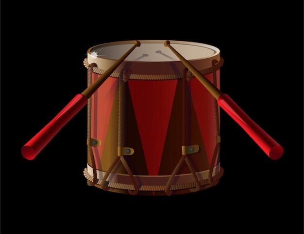 Antiguo tambor antiguo con baquetas para baterista, instrumento de música.