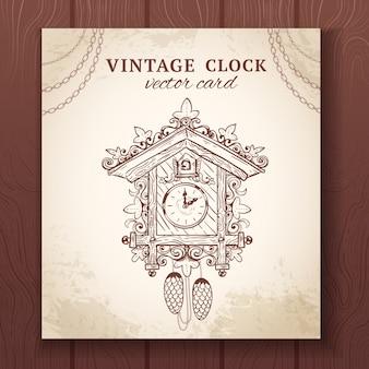 Antiguo vintage retro esbozo cucú reloj de papel tarjeta ilustración vectorial