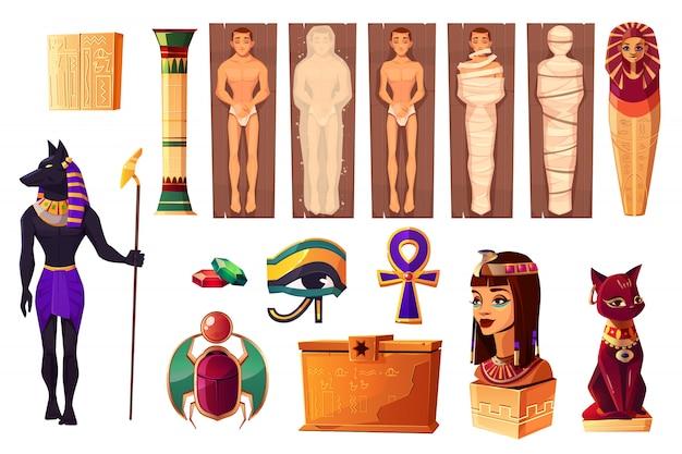 Antiguos atributos egipcios de la cultura y la religión.