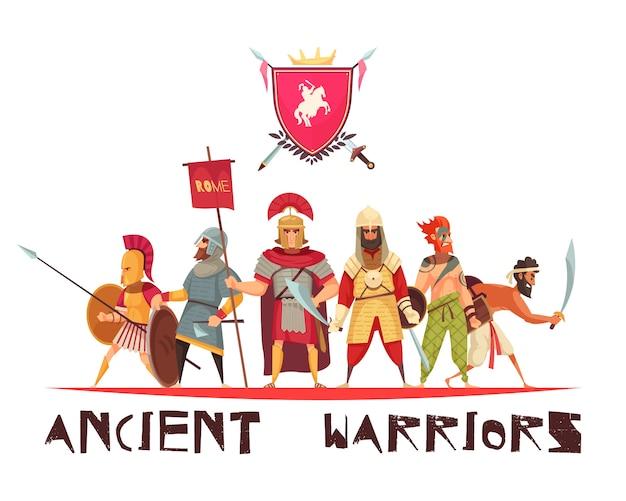 Antiguos guerreros con armas y banderas planas