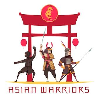 Antiguos guerreros asiáticos con armas y uniformes planos