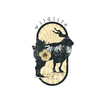 Antílope en vector emblema de doble exposición para su diseño