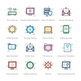 Antivirus y conjunto de iconos de seguridad