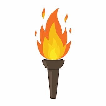 Antorcha aislada sobre fondo blanco. fuego. símbolo de los juegos olímpicos. figura llameante.