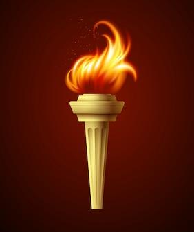 Antorcha de fuego realista. ilustración