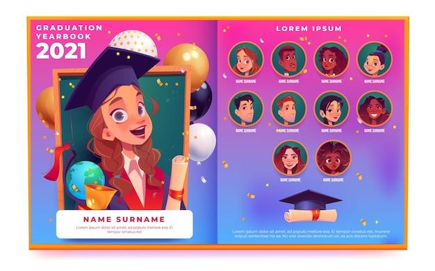Anuario de graduación de dibujos animados