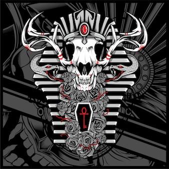 Anubis dios de los muertos, con serpiente -
