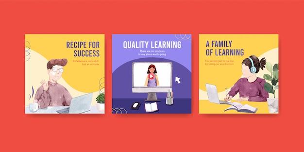 Anuncie el diseño del concepto de aprendizaje en línea, folleto y folleto acuarela