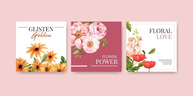 Anuncie la plantilla con acuarela de diseño floral de verano