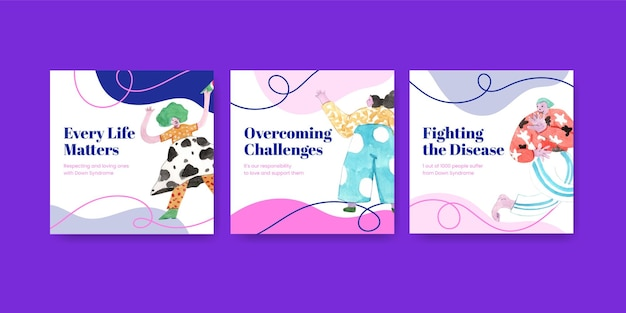 Anuncie la plantilla con el concepto del día mundial del síndrome de down