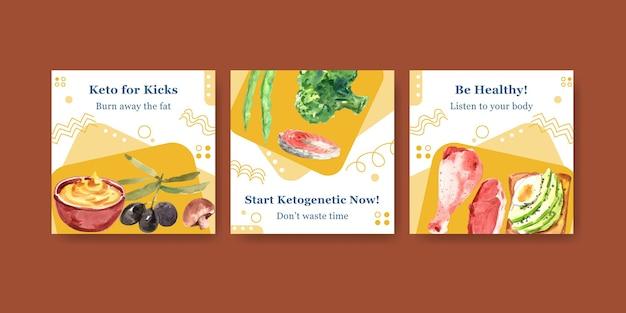 Anuncie la plantilla con el concepto de dieta cetogénica para marketing y anuncios ilustración acuarela.