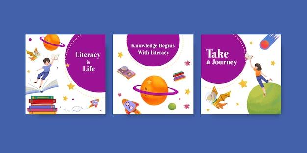 Anuncie la plantilla con el diseño del concepto del día internacional de la alfabetización para el vector de acuarela de marketing empresarial.