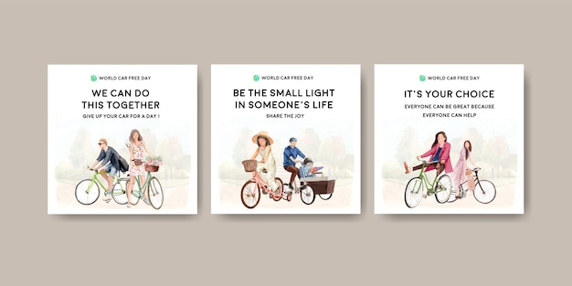 Anuncie la plantilla con el diseño del concepto del día mundial sin automóviles para la acuarela de marketing