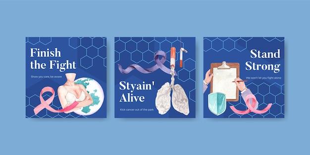 Anuncie la plantilla con el diseño de concepto del día mundial del cáncer para la ilustración de vector de acuarela de marketing.