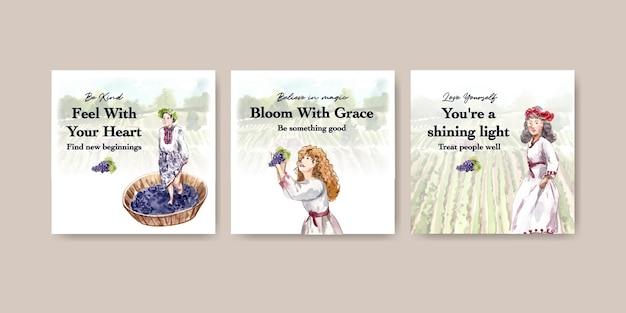 Anuncie la plantilla con el diseño de concepto de granja de vino para la comercialización de la ilustración acuarela