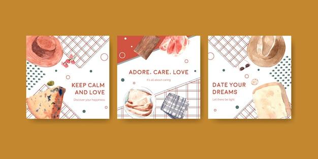 Anuncie la plantilla con el diseño de concepto de picnic europeo para la ilustración acuarela de marketing.
