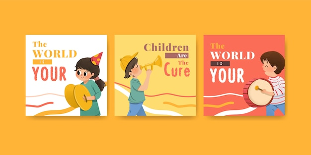 Anuncie la plantilla con diseño del día de la juventud para folletos y anuncie acuarela