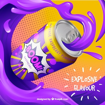 Anuncio abstracto colorido de bebida