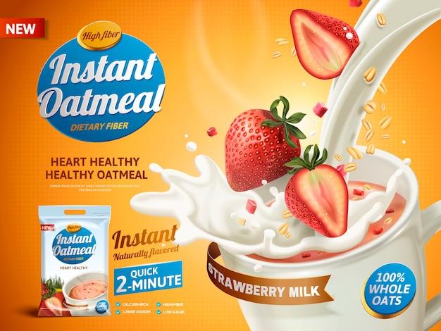 Anuncio de avena de fresa, con leche vertida en una taza y elementos de fresa