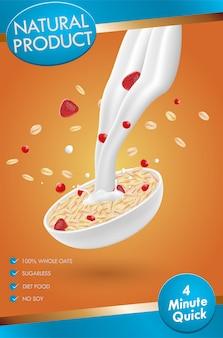 Anuncio de avena, con salpicaduras de leche y bayas mixtas, ilustración 3d