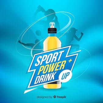 Anuncio de bebida deportiva con diseño realista