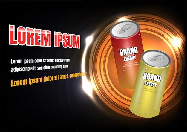 Anuncio de bebidas energéticas rojas y amarillas.