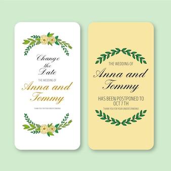 Anuncio de boda para cambiar el formato móvil de la fecha