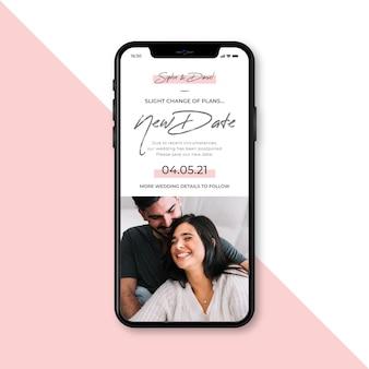 Anuncio de boda pospuesto en concepto móvil