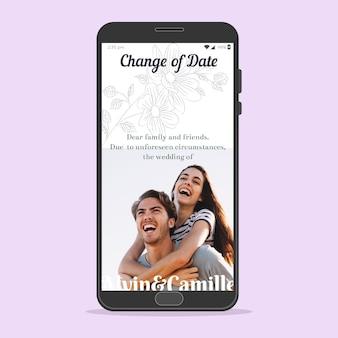 Anuncio de boda pospuesto concepto de teléfono inteligente