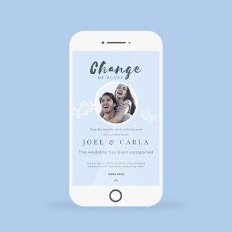 Anuncio de boda pospuesto para formato de teléfono móvil