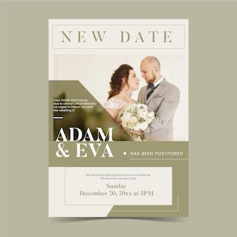 Anuncio de boda pospuesto nueva fecha
