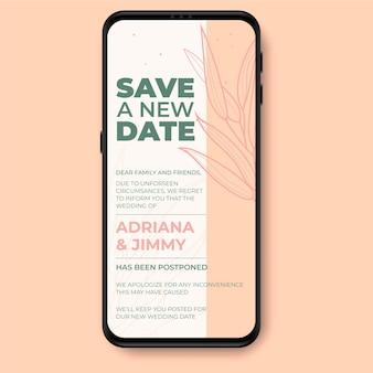 Anuncio de boda pospuesto con teléfono inteligente