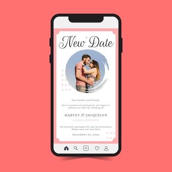 Anuncio de boda de recién casados pospuesto